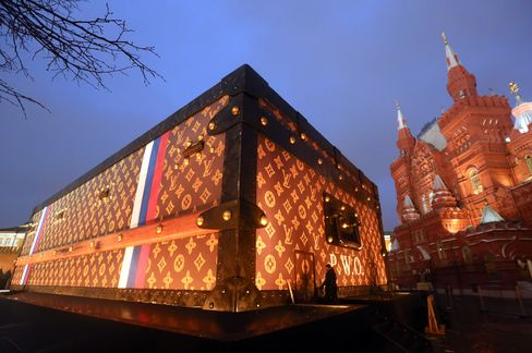 An Exhibit for Louis Vuitton Sits on Display in Red Square