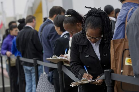 Job Seekers Wait in Line at a Hiring Event