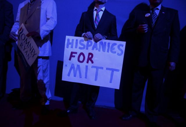A boisterous Latinomoment at the 2012 Republican National Convention.Photographer: Daniel Acker/Bloomberg