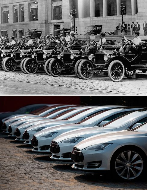The road to 500,000 is paved with cobblestones. Ford Model Ts park outside City Hall in St. Louis, ca. 1920s; Tesla Model S vehicles parked outside a car dealership in Shanghai in 2015.