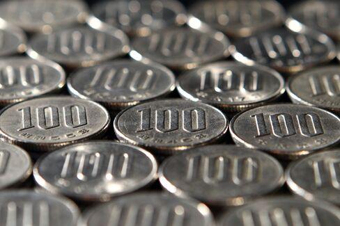 Japanese 100 yen coins