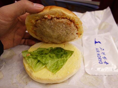 A hamburger offered on Air Koryo.