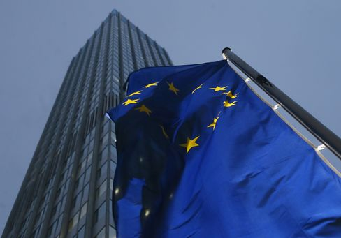 A EU Flag Flies Outside the ECB Headquarters in Frankfurt