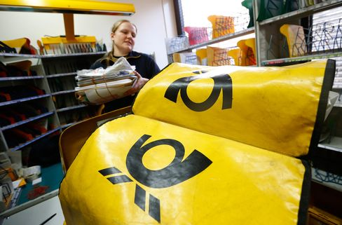The Deutsche Post Logo Sits on Delivery Bags