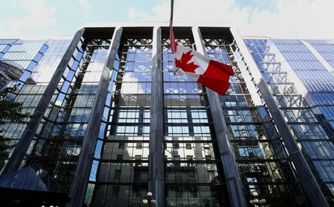 The Canadian Flag Flies Outside The Bank Of Canada Building