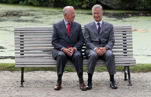 Belgian King Albert II and Prince Philippe