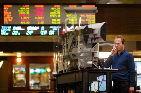 A Trader Works inside the Amsterdam Stock Exchange