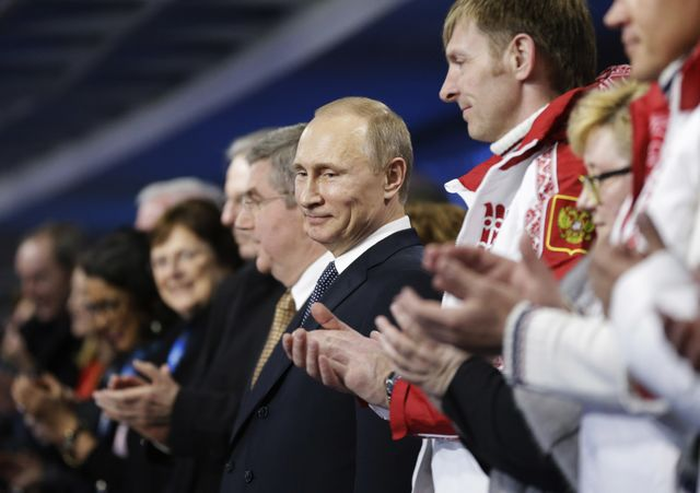Vladimir Putin has plenty to be proud of, but how long will the Olympic afterglow last? Photographer:David Goldman-Pool/Getty Images