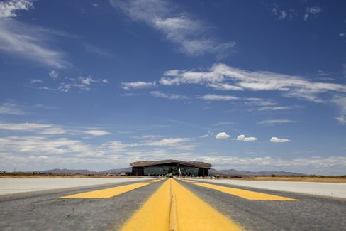 The Terminal Hangar Facility at Spaceport America stands in Sierra County, New Mexico. Photographer: Christ Chavez/Bloomberg