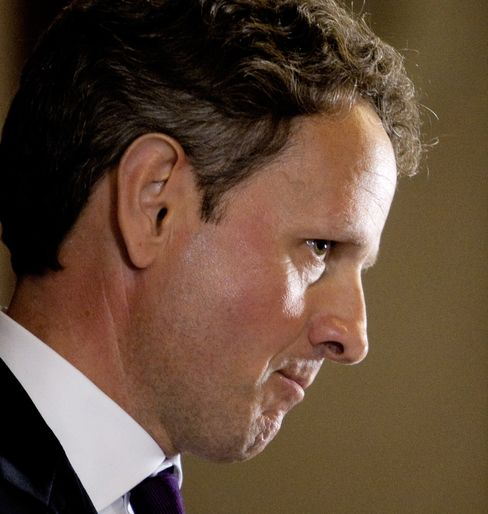U.S. treasury secretary Timothy Geithner listens to a question during a news conference. Photographer: Andrew Harrer/Bloomberg