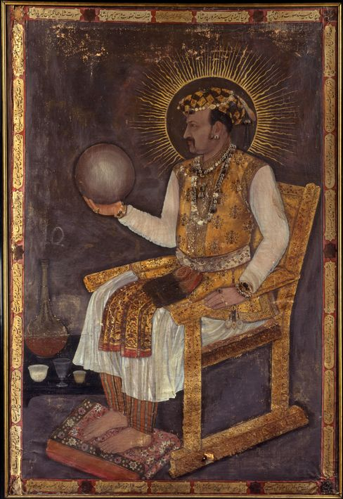 A painting shows Jahangir holding a globe