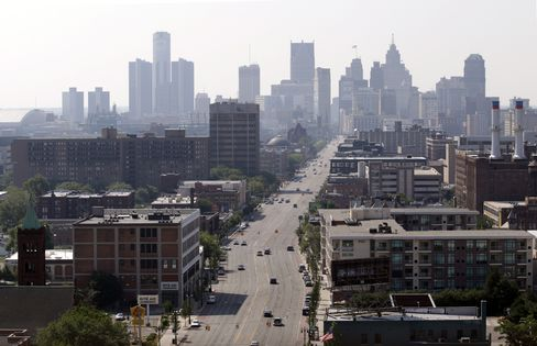 Buildings Stand in the Skyline of Detroit