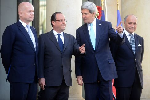 President Hollande and Kerry, Hague and Fabius