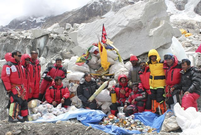 Do they have mountain-climbing insurance?Photographer: Namgyal Sherpa/AFP/Getty Images