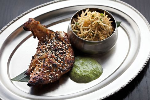 Guinea fowl breast is served at Gymkhana in London.