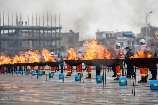 Burning seized drugs in southwestern China.