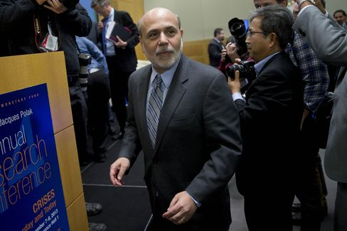 Federal Reserve Chairman Ben S. Bernanke and his central-bank counterparts are trying to avert the deflationary danger by pumping up their economies with lower interest rates and monetary stimulus. Photographer: Andrew Harrer/Bloomberg