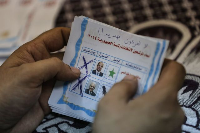 A handful of these isn't much of a mandate for General Abdel-Fattah El-Sisi. Photographer: Mohamed El-Shahed/AFP/Getty Images