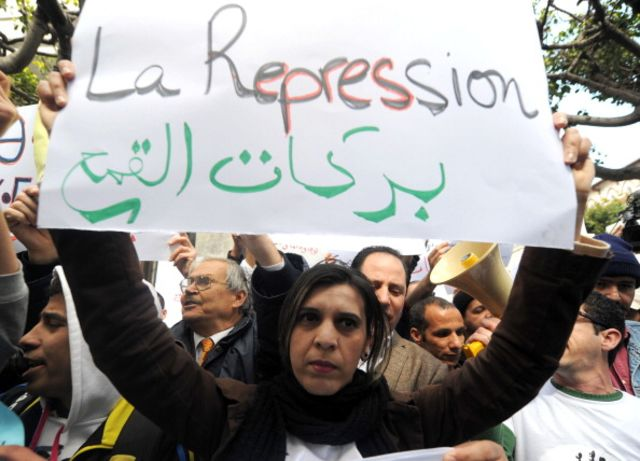 "The Barakat (""Enough"") movement has drawn some notice in Algeria. Photographer: Farouk Batiche/AFP/Getty Images"
