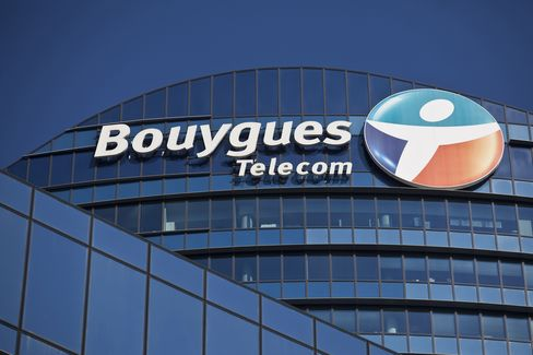 A Logo sits outside the Headquarters of Bouygues Telecom