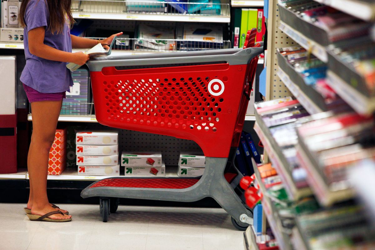 A girl looks for school supplies inside a Target store in Torrance, Calif., on August 20, 2013.