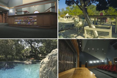 From top left, clockwise: Neverland's movie theater lobby, the remains of the zoo, the 5,500-square-foot movie theater and stage, expansive pool with rock features. (Yes, that's allama. Noword from Sotheby's as to whether its included in the sale.)