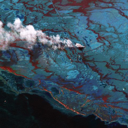 The blowout and explosion aboard the rig, the Deepwater Horizon, killed 11 workers and spilled more than 4 million barrels of oil into the Gulf of Mexico. The accident sparked hundreds of lawsuits against London-based BP, Houston-based Halliburton and Vernier, Switzerland-based Transocean. Photographer: DigitalGlobe via Getty Images