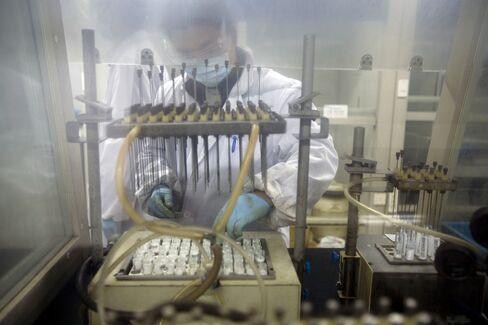 A technician at the WuXi PharmaTech laboratory