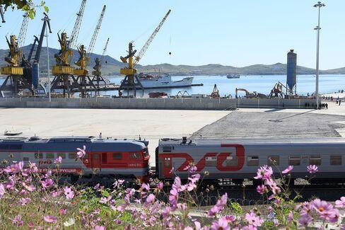 Russian Railways Train in Rajin Port