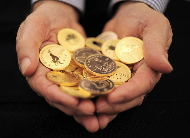 A fistful of krugerrands. (And some Australian sovereigns.)