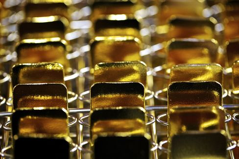 Gold Bars Sit at a Refinery near Mendrisio