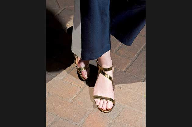 Brushed-mirror double-strap sandals