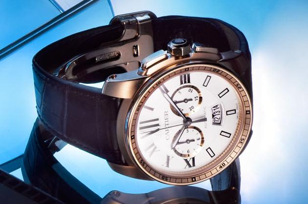 Cartier Calibre Chronograph in 18k Rose Gold in Leather