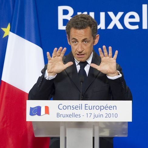 Nicolas Sarkozy speaking in Brussels
