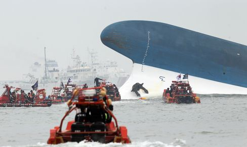 Rescue Boats Sail near Sewol Ferry