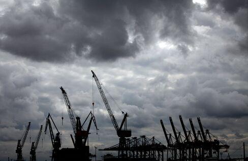 Cranes Stand at the Port of Hamburg