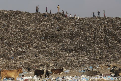 Boys play as cows graze through garbage at the Deonar landfill site in Mumbai. Photographer: Dhiraj Singh/Bloomberg