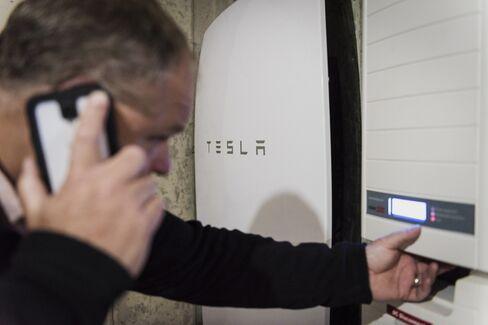 Tesla Powerwall unit inside a home.