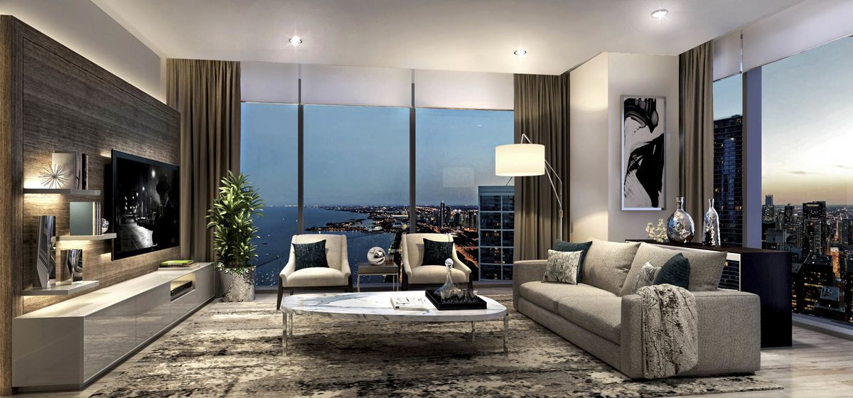 A proposed living room for the penthouse.
