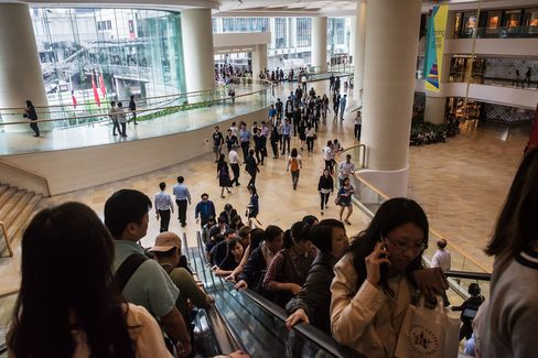 Shoppers at the Pacific Place shopping mall in Admiralty, Hong Kong.