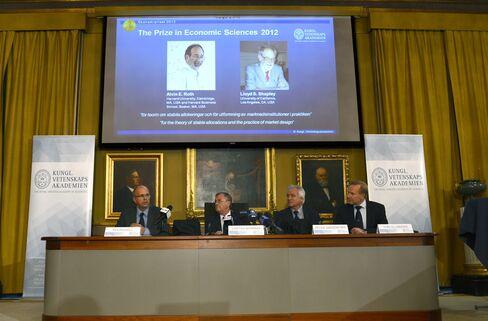 Roth, Shapley Share 2012 Nobel Economics Prize, Academy Says