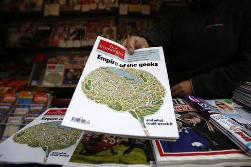 The Economist on sale at a kiosk in London.