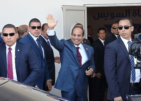 Egyptian President Abdel-Fattah El-Sisi arriving for the opening ceremony of the New Suez Canal, in Ismailia, Egypt, on Aug. 6, 2015.