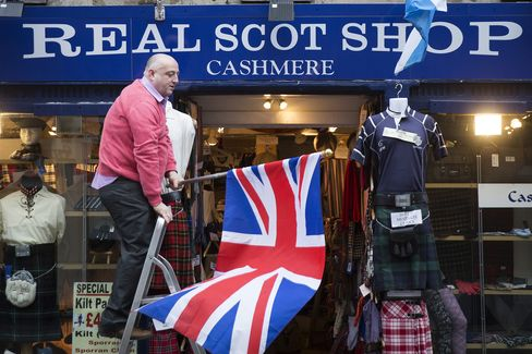A Shopkeeper Prepares to Erect a British Union Flag at his Store