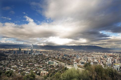 Buildings Stand on the Skyline in Santiago