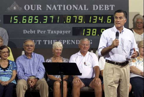 Romney Attacks Obama Over Recovery Citing U.S. Debt Load