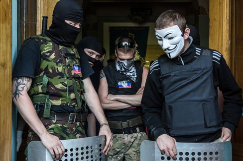 Pro-Russian Activists Guard The TRK Donbass TV Station