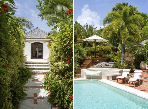 The villa entrance and poolside