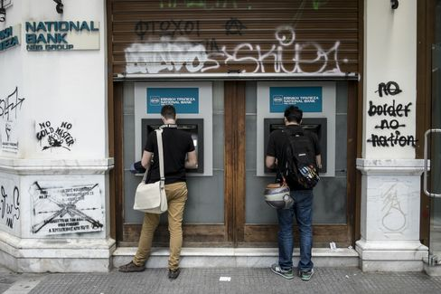 Pensioners And Greek Banks Amid Record Deposit Outflows
