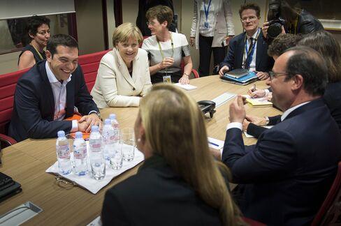 Angela Merkel, Alexis Tsipras and Francois Hollande